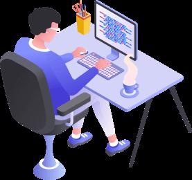 Imagem de uma pessoa programando